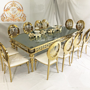 best quality low price commercial design 12 seater gold glass dining table