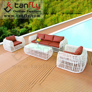 4pc Outdoor Patio Garden Furniture Wicker Rattan Sofa Set white