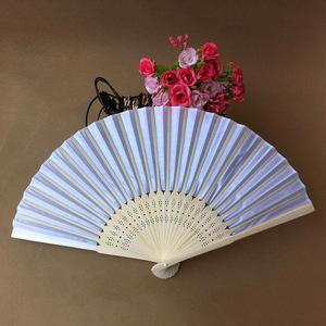 Meilun Art & Craft White Silk Folding Hand Fan for Wedding Favor