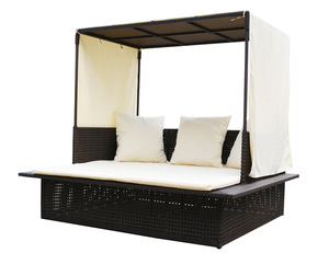 modern resorts big rattan bed with curtain
