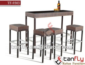 TF-9303 wicker stool with rattan bar,aluminum bar stool