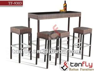 TF-9303 wicker stool with rattan bar,aluminum bar stool pictures & photos