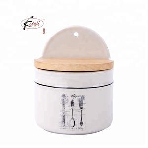 ceramic salt box with wooden lid 2019