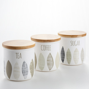 White decaled ceramic canisters set with bamboo lid 3pcs