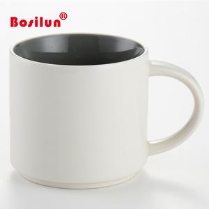 Wholesale inside color outside white 2 tone ceramic stoneware mug