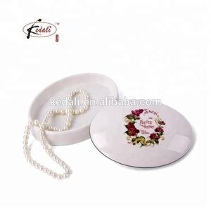 White Ceramic Egg Shaped flower Jewelry Trinket Box