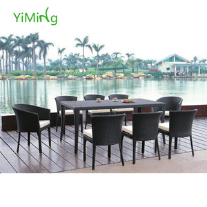 Garden 8 Person Rattan wicker Dining Yard Pe Rattan Furniture Outside Table And Chairs Yard Rattan F