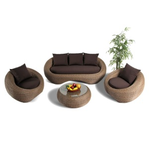 all weather rattan couch sofa bed set with round chair