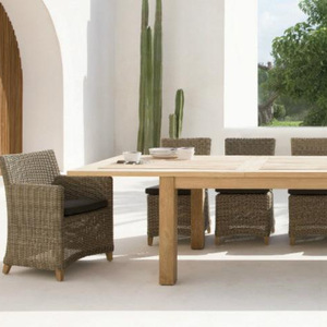 Wicker rattan outdoor wooden dining table set 8 chairs- garden patio outdoor furniture dining table