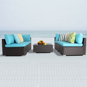Patio Rattan Wicker Furniture Outdoor L Shape White Sofa Set pictures & photos