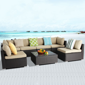 Patio Rattan Wicker Furniture Outdoor L Shape White Sofa Set