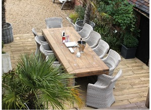 Wicker rattan outdoor big wood dining table and 10 chair set for patio garden dining set furniture R pictures & photos