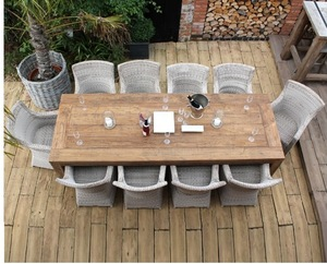 Wicker rattan outdoor big wood dining table and 10 chair set for patio garden dining set furniture R