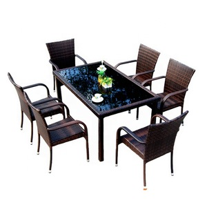 All Weather Wholesales Outdoor Flat Pack Leisure China Garden 6 Seater 7 PCS Rattan Chair And Table