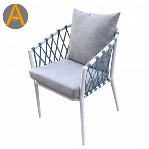garden outdoor furniture metal frame rope chairs coffee shop balcony cotton cushion aluminum chair