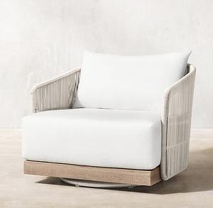 Poolside outdoor furniture wicker classic swivel lounge chair teak wood sofa