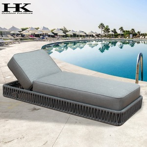 Wicker swimming pool High cushion lounge chairs sun lounger Rope outdoor furniture pictures & photos