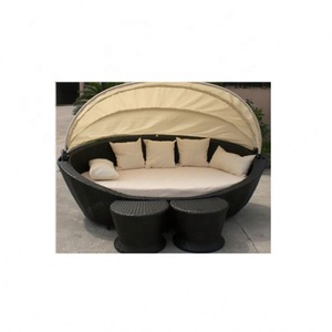 New style wicker patio waterproof round rattan outdoor lounge bed with canopy AWRF8003 round rattan