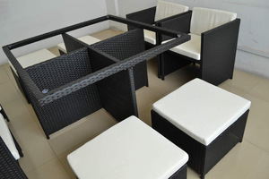 New Design space-saving Modular garden rattan dining set pictures & photos