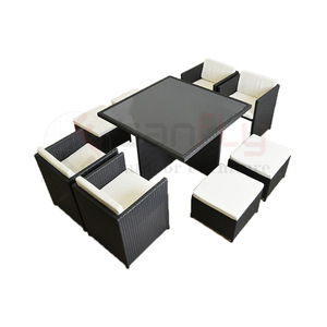 New Design space-saving Modular garden rattan dining set