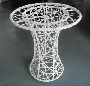 rattan white small round size glass top coffee table