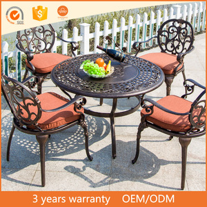 European Fashion Style 5PCS Cast Aluminum Outdoor Balcony Courtyard Lounge Leisure BBQ Garden Furnit