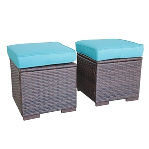 All Weather Wicker Ottoman with Blue Cushion