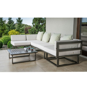 Dark Grey Couch L Shaped Aluminium Patio Sofa Outdoor Furniture Sets Modular Garden Sofa