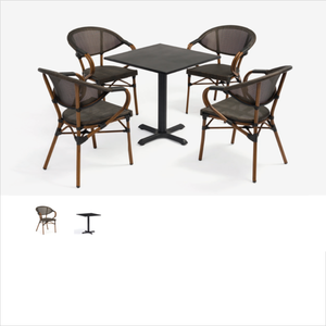 Vintage hot sale bamboo Patio Garden Leisure sling Dining furniture aluminum garden bistro table and
