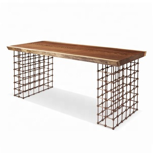2016 cheap new design industrial wood top big bar dining table