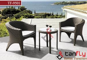 Outdoor Garden 2 Seats Rattan Patio Set Wicker Bistro Chair Dining Set