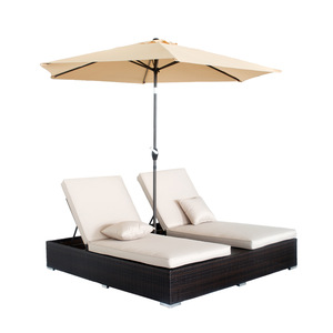 Outdoor Patio Furniture Rattan Beach Double Chaise Lounge