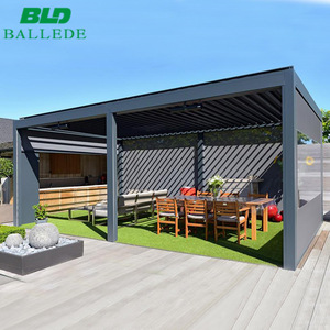 Patio aluminum frame luxury restaurant outdoor furniture cover with wind sensor