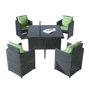 2018 hot new products rattan garden dining chairs design table modern tempered glass set pictures & photos