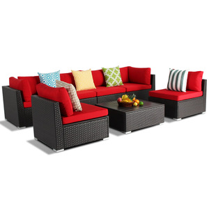 All Weather Rust Proof Aluminum Rattan Wicker Sectional Garden Furniture with Coffee Table