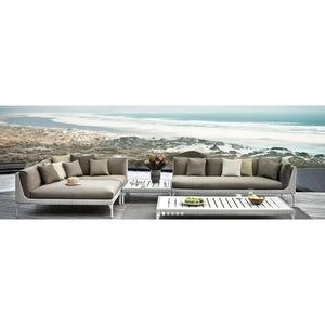 Classic hotel sectional full Sofa set waterproof fabric seat aluminium framepatio beach lounge Garde