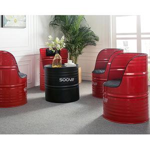 Industrial Loft Style Barrel Chairs Drum Metal Furniture Oil Drum Outdoor Garden Set