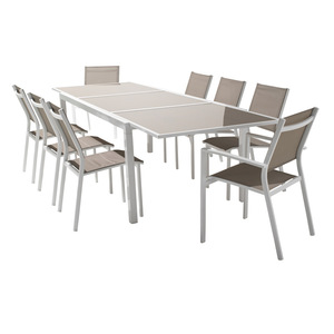 TF-9193 Top Quality Aluminum frame extensible Dining Table 8 Chair
