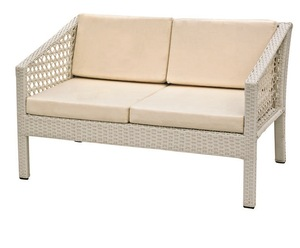 Classic white aluminium rattan wicker loveseat