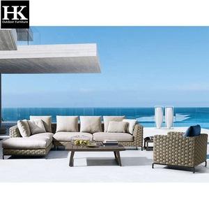 Hangkai furniture royal best rope woven patio garden furniture outdoor lounge furniture sofa set