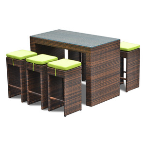 outdoor patio rattan wicker furniture bar set