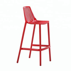 Modern stackable plastic bar chair with foot rest for sale