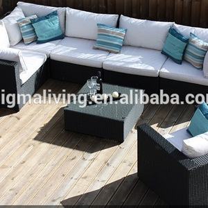 Simple design black rattan garden outdoor rattan furniture patio garden sofa set