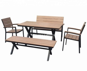 modern outdoor Plastic wood restaurant dining chair and table set