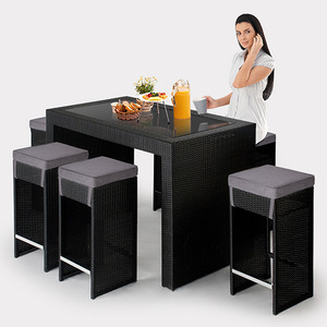 All Weather Outdoor Wicker Bar Stool Counter Rattan Furniture Bar Set Garden Bar