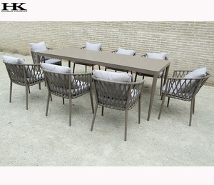Aluminum Table Top Texture Rope Chair 6 Personal Outdoor Garden Dining Furniture Set