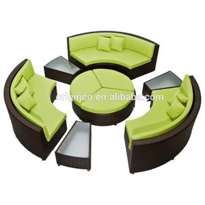 Multifunctional wicker outdoor sitting furniture rattan round sofa sets