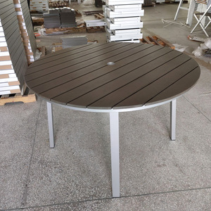 Garden furniture brushed aluminum outdoor round dining table with plastic wood
