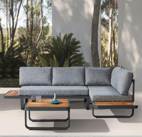 Modern Outdoor Garden Furniture Aluminium Outdoor Sofa with Teak