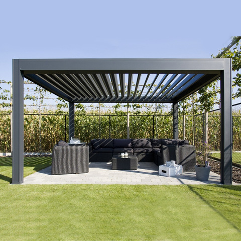 Rainproof aluminum louver pergola marquee outdoor furniture